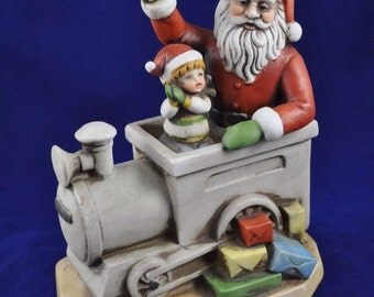 Vintage Christmas Santa Music Box Rotating Ceramic Train