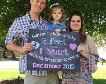 Chalkboard Pregnancy Announcement // Pregnancy Reveal // 2 Feet 1 Heart // Growing Family // Digital File