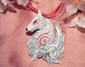 "Okami - Amaterasu the Sungoddess - handsculpted Pendant - ""Made to Order"""