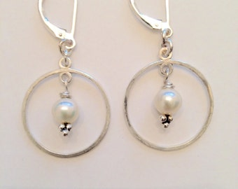 Slighly Hammered Sterling Silver Hoops with Fresh Water Pearls