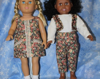 """Four Piece Floral Print 18"""" doll Interchangeable Outfit"""