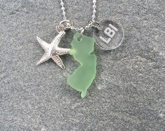Sea Glass Style New Jersey LBI starfish necklace