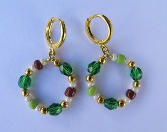 Green, Brown and Gold Hoops. Handmade Earrings of Golden color combined with Crystal Glass beads. Green, Brown, Cream and Gold. Hoop earring