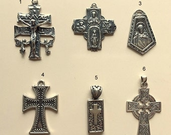 Vintage Sterling Silver Cross Pendants and Religious Medallions