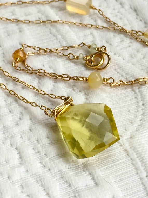 Manipura Chakra Necklace Solar Plexus Chakra Jewelry Citrine Gemstone Lemon Quartz Yellow November Birthstone