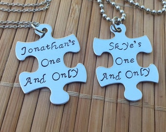 in Australia - Couples' jewelry - personalised puzzle piece necklaces - his and hers
