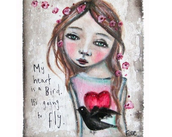 My heart is a bird - art print, giclee print, acrylic art print from original painting, girl painting, giclee art.