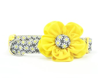 Daisy Dog Flower Collar Grey Yellow Girl Dog Collar Flower