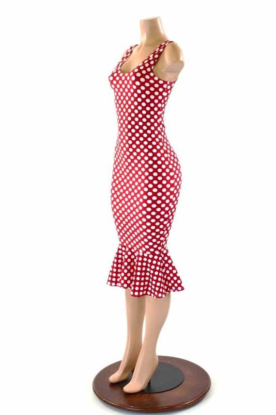 Red And White Polka Dot Wiggle Dress 48