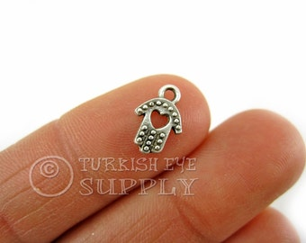 20 pc Tiny Hamsa Hand Charms, Antique Silver Plated Mini Hand Charms Turkish Jewelry