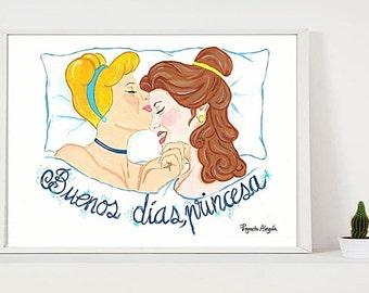 Buenos Dias Princesa lesbian Art Lesbian Girlfriend Gift Printable Lesbian Valentines gift Instant Download lesbian anniversary gift LGBT