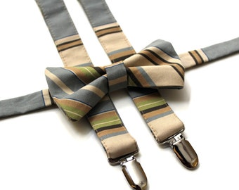 Men's Striped Bow Tie and Suspender Set