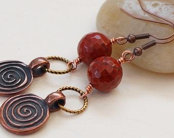 Jasper earrings, red jasper earrings, Mykonos charm earrings, Trinity Brass earrings, gemstone earrings, copper earrings, brass earrings