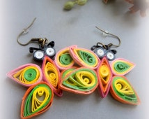 Rainbow Dangle Butterfly Earrings, Paper quilled Earrings, Nature inspired Earrings, Vegan Eco Friendly Earrings, Colorful Earrings