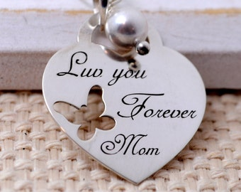 SHIP NEXT DAY - Love you Forever Mom - Personalized Necklace for Mother's Day, Mom, Mommy Jewelry, Mother's Day Gift