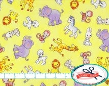 PRECIOUS MOMENTS Fabric by the Yard, Fat Quarter YELLOW Fabric Baby Animal Fabric Quilting Fabric 100% Cotton Fabric Apparel Fabric t5-30