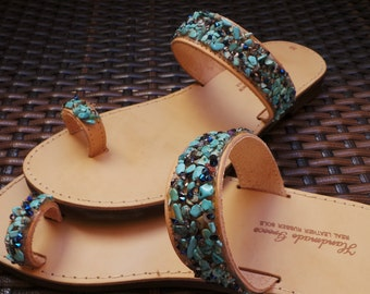 Greek leather sandals. Toe ring leather sandals. Summer sandals. Leather sandals decorated with semi precious stones and rhinestones.