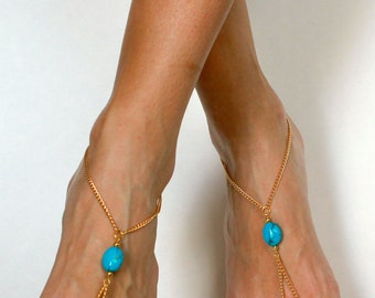 Bohemian Barefoot Sandals Boho Foot Jewelry Turquoise and Gold Sandals Foot Thong Bohemian Anklet Hippie Sandals Toe Anklet Jewelry Beach