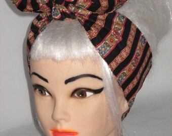 Headband Floral  Pinup Vintage Retro Style 50s RockabillyHead Wrap Scarf Bandana