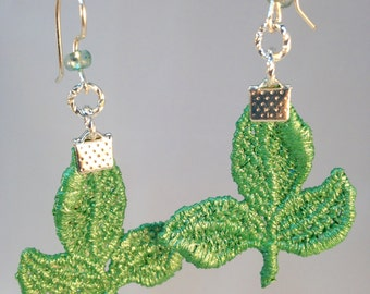 Green Leaf Earrings| Three Leaves Earrings| Hand Painted Lace| Green Leaves Earrings|