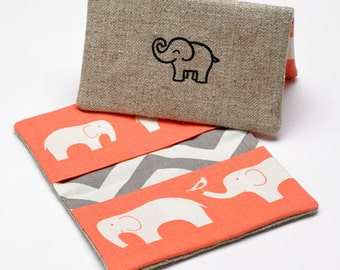 Business Card Case, Credit Card Holder, Fabric Gift Card Wallet in Organic Coral Elephant