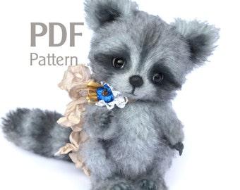 "Pattern teddy racoon PDF 6.1"", artist teddy raccoon pattern, ePattern, sewing pattern, coon pattern, stuffed teddy pattern"