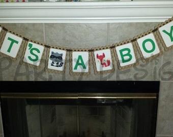 WOODLAND Themed BABY Shower Birthday Photo Shoot Name Banner I am one High Chair banner - Nature Forest Fairy Tale
