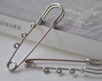 Silvery Gray Kilt Pin Shawl Pins Three Loops Safety Broochs 65mm Set of 10 A3382