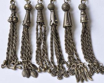 6 pcs Antique Bronze Vintage Metal Tassel Charm Pendants Mixed Style  A7705