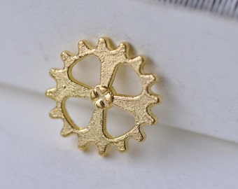 Gold Gears Charms Small Mechanical Watch Movement 14mm Set of 20 pcs A7947
