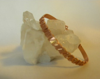 Free Shipping-- Lower Price--Wire Wrapped Copper Bracelet--Hook Clasp-- Hand made-- Artisan made-- Copper Wire