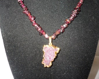 Garnet Pendant Mounted on 22k Gold Plated.*****