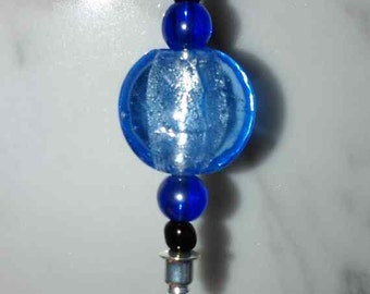 Hat Pin or Lapel Pin 3 in silver like stick with blue beads and 2 black seed beads  gift under 10