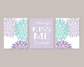 Baby Girl Nursery Art, Girl Nursery Decor, Flower Nursery Wall Art, Always Kiss Me Goodnight, Lilac Nursery Art, Set of 3 Prints Or Canvas