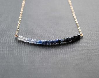 Ombre Sapphire Necklace, Blue Sapphire Necklace, Ombre Necklace, Sapphire Jewelry