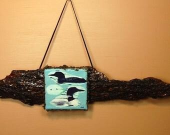 "LOON PHOTO Wall Hanging  -""Loon  Pair """