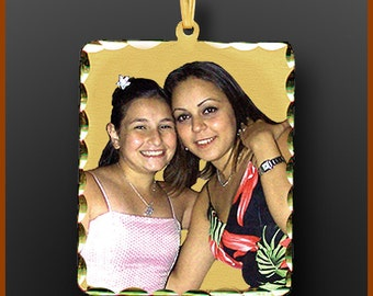 "14kt Gold Personalized Photo Pendant ""Rectangle Shape"" Extra Large"