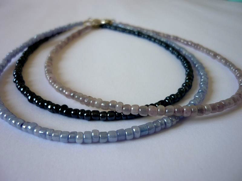 beaded choker necklace dainty seed bead necklace lavender