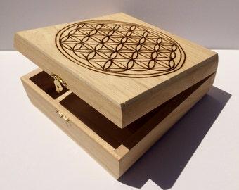 Flower of Life Crystal Grid Storage Box Wood Hand Burned Sacred Geometry