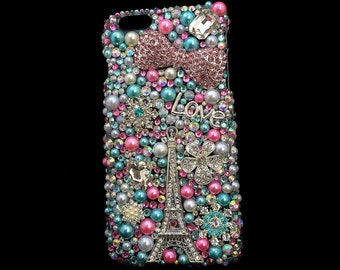 Bling Pink Cell Phone Case IPhone Galaxy Samsung Note - Paris Is For Lovers - French France Cell Phone Cover - Pearls Cellphone Case w Blue