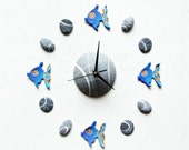 Blue fishes wall clock Oc...