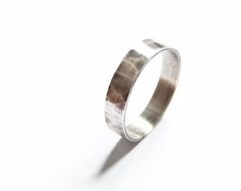 Sterling silver hammered band ring, 4mm x 1mm band ring, oxidized ring, friendship ring