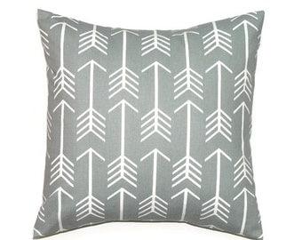 Arrow Pillow Cover, 20x20 Pillow Cover, Gray Decorative Pillows, Modern Decor, Cushion Cover, Arrow Cool Twill