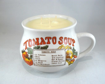 Unscented Soy Candle Hand-Poured into Vintage Tomato Soup Mug