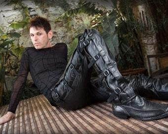 Mens Vegan Leather / PVC Side Details Jeans - SALE!