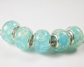 1x Murano Bead - Light Blue With Bubbles - Glass Beads - Lampwork Beads - Fits European - A97