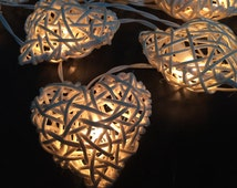 Fairy Lights 20 White Tone Heart Rattan String Lights Hanging Wedding Gift Party Patio,Bedroom fairy lights,Home Floral Decor.