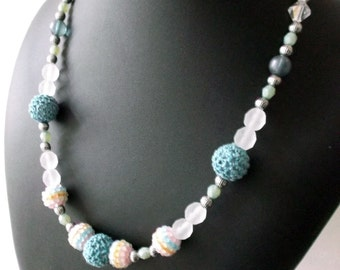"""Shades of Blue 22"""" Beaded Necklace"""