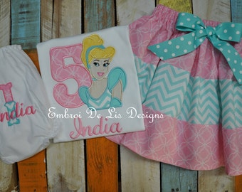 Personalized Disney Princess Cinderella Birthday Shirt or Skirt Set, Embroidery Applique