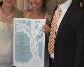 Papercut Ketubah Intertwined Trees
